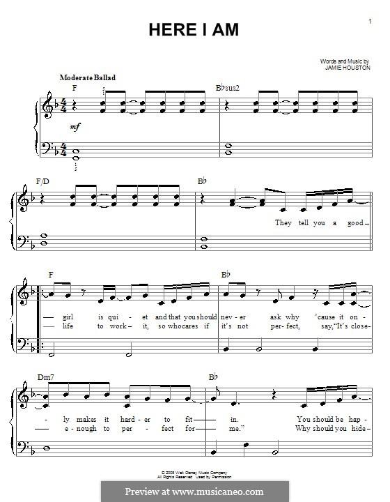 Here I am (Renee Sandstrom): Для фортепиано (легкий уровень) by Jamie Houston