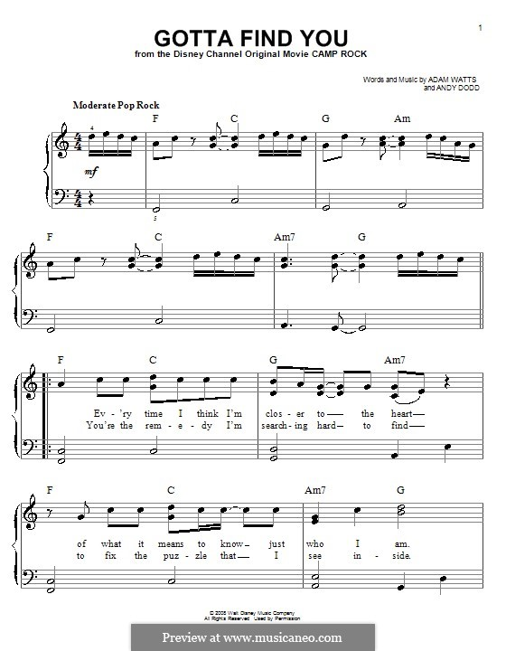 Gotta Find You (Joe Jonas): Для фортепиано (легкий уровень) by Adam Watts, Andrew Dodd