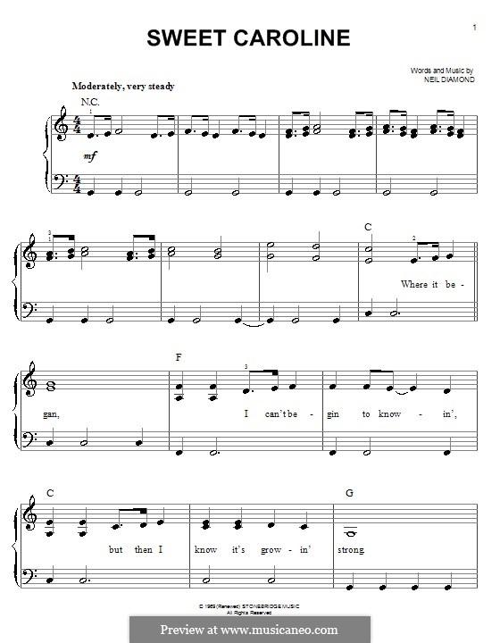 Sweet Caroline: Для фортепиано (легкий уровень) by Neil Diamond