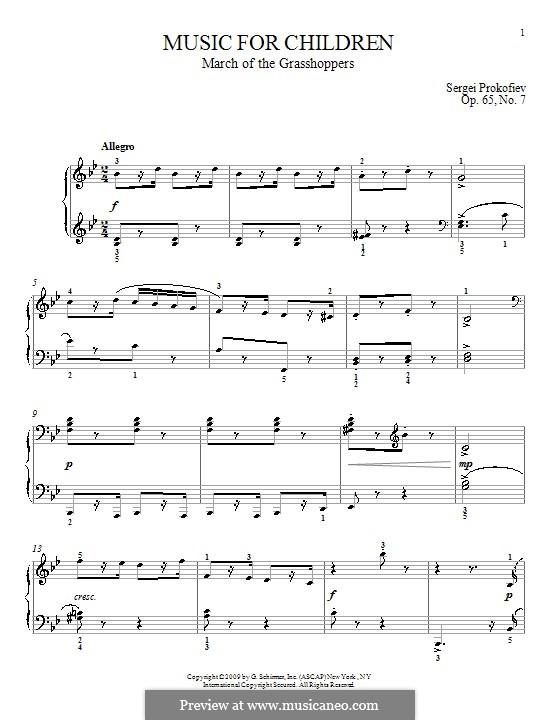 Музыка для детей, Op.65: No.7 March of the Grasshoppers by Сергей Прокофьев