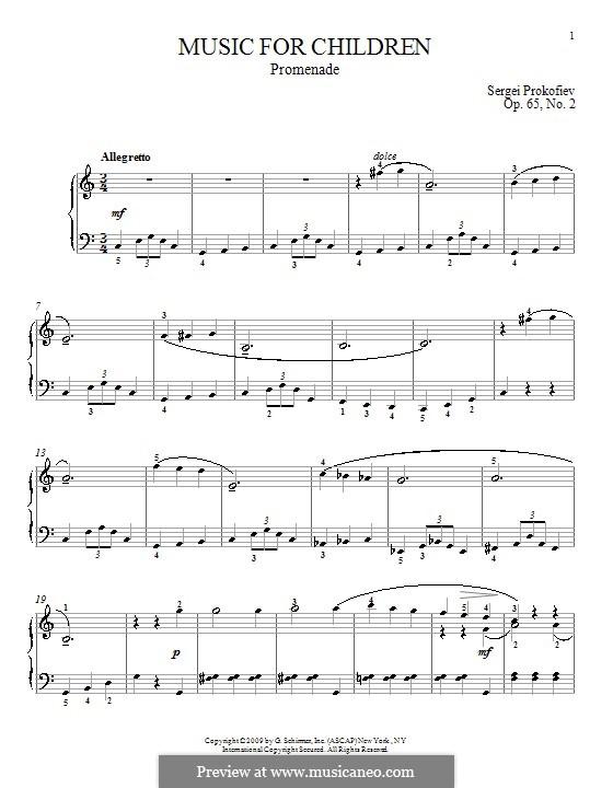 Музыка для детей, Op.65: No.2 Променад by Сергей Прокофьев