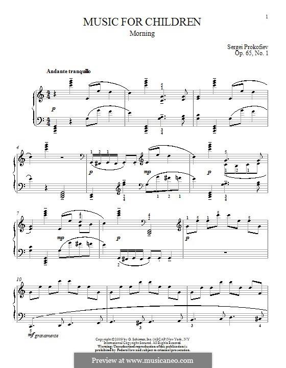 Музыка для детей, Op.65: No.1 Утро by Сергей Прокофьев