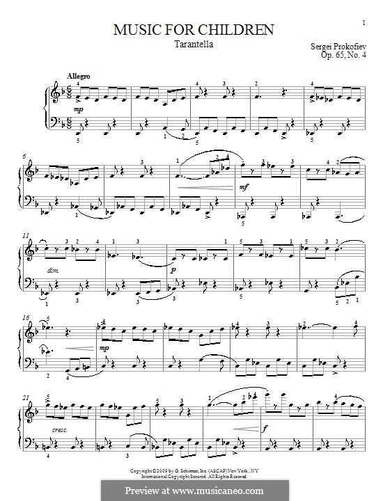 Музыка для детей, Op.65: No.4 Тарантелла by Сергей Прокофьев
