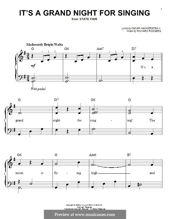 It's a Grand Night for Singing: Для фортепиано (легкий уровень) by Richard Rodgers