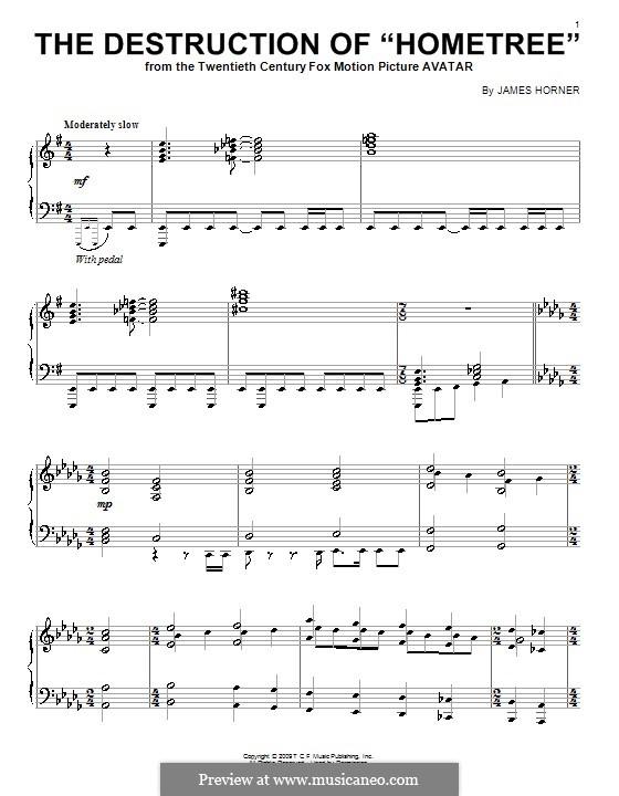 The Destruction of 'Hometree': Для фортепиано by James Horner