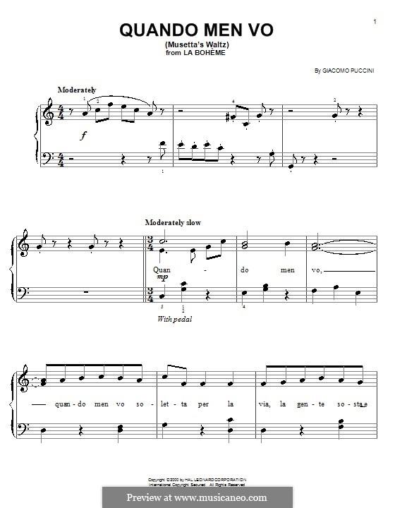 Quando men vo (Musetta's Waltz): Для фортепиано (легкий уровень, с аппликатурой) by Джакомо Пуччини