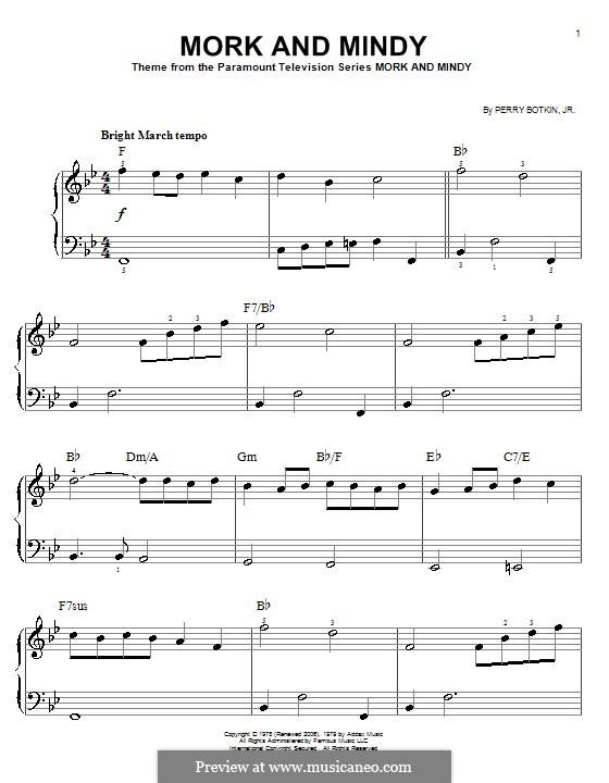 Mork and Mindy: Для фортепиано (легкий уровень) by Perry Botkin Jr.