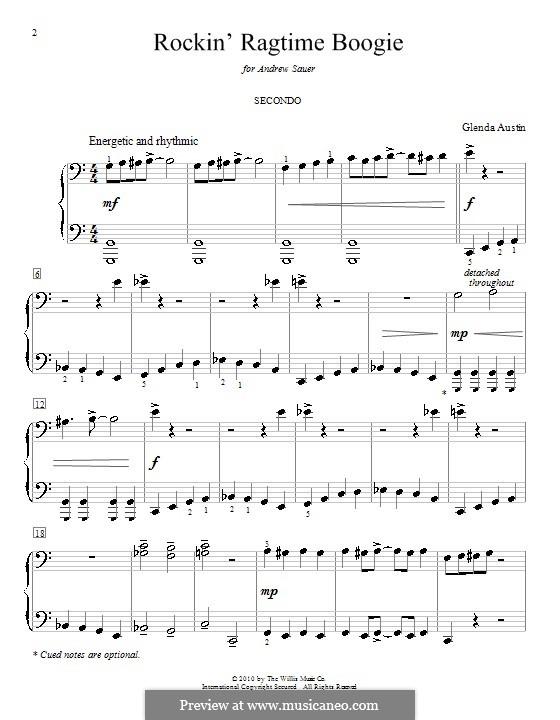 Rockin' Ragtime Boogie: Для фортепиано в 4 руки by Glenda Austin