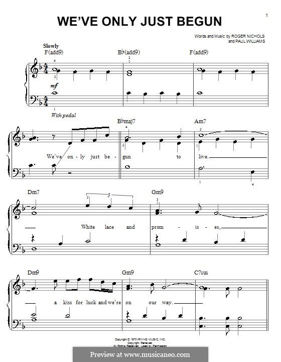 We've Only Just Begun (Carpenters): Для фортепиано (легкий уровень) by Paul H. Williams, Roger Nichols