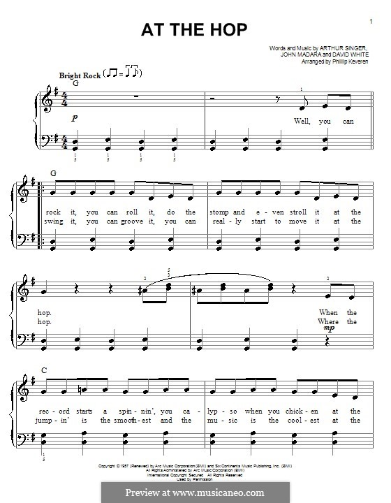At the Hop (Danny & The Juniors): Для фортепиано (легкий уровень) by Arthur Singer, David White, John Medora