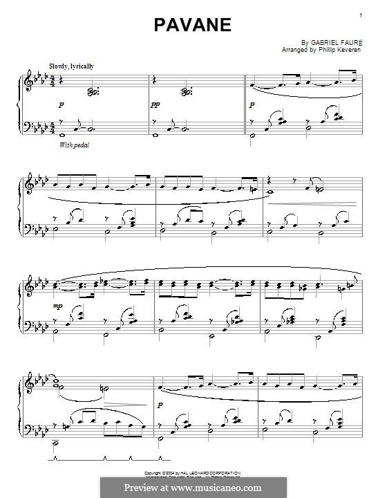Павана, Op.50: Для фортепиано (F Minor) by Габриэль Форе