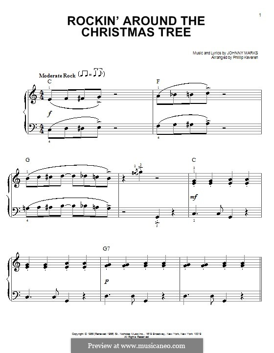Rockin' Around the Christmas Tree: Для фортепиано (легкий уровень) by Johnny Marks