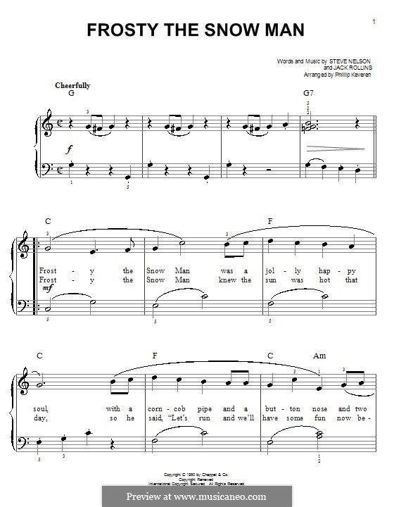 Frosty the Snow Man: Для фортепиано (Gene Autry) by Jack Rollins, Steve Nelson
