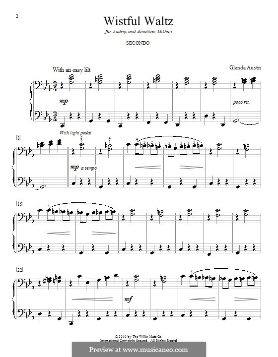 Wistful Waltz: Для фортепиано в 4 руки by Glenda Austin