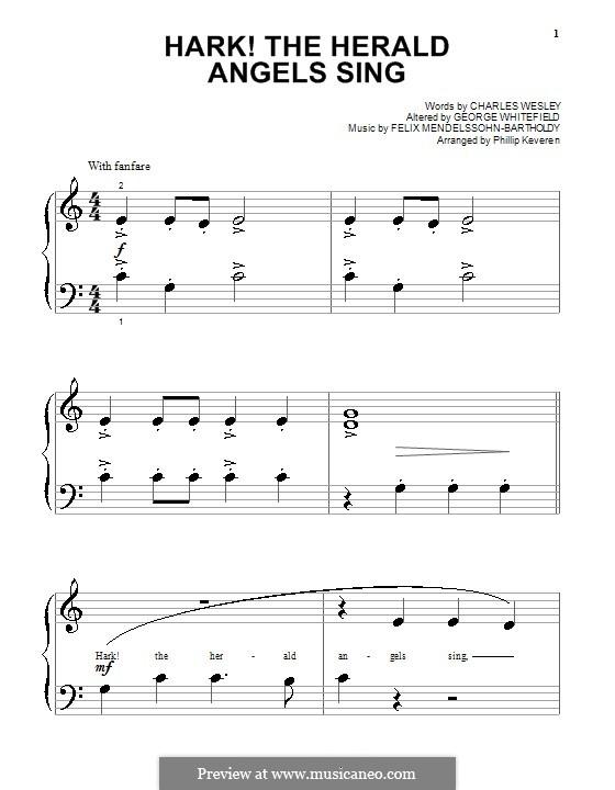 Hark! The Herald Angels Sing, for Piano: Очень легкая версия by Феликс Мендельсон-Бартольди