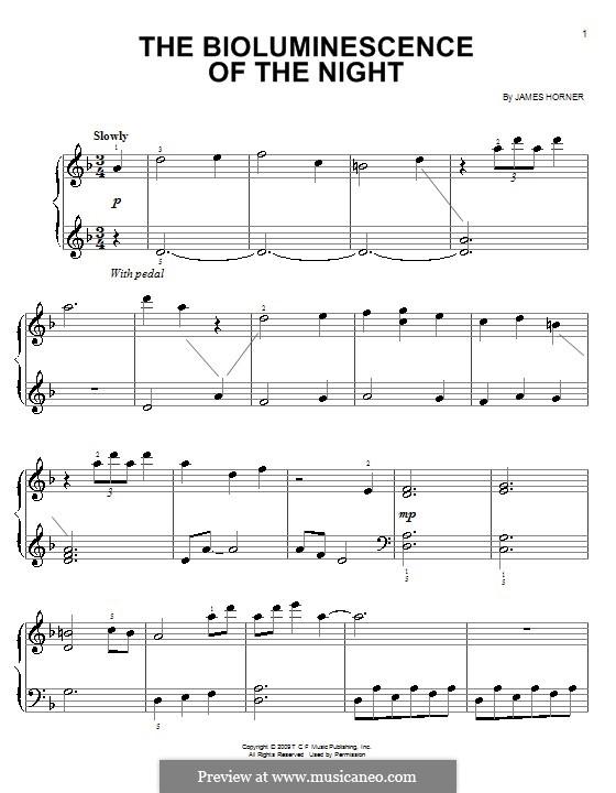 The Bioluminescence of the Night: Для начинающего пианиста by James Horner