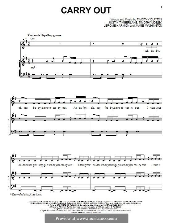 Carry Out (Timbaland featuring Justin Timberlake): Для голоса и фортепиано (или гитары) by James Washington, Jerome Harmon, Timbaland, Timothy Clayton