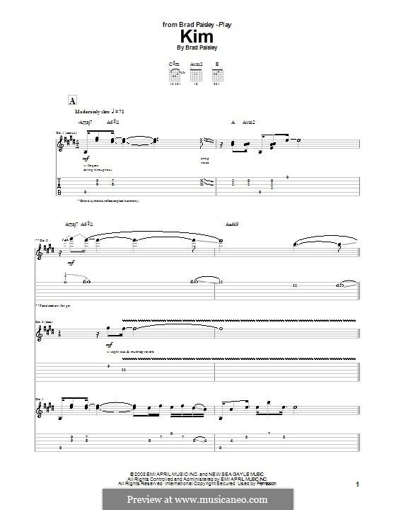 Kim: Для гитары с табулатурой by Brad Paisley