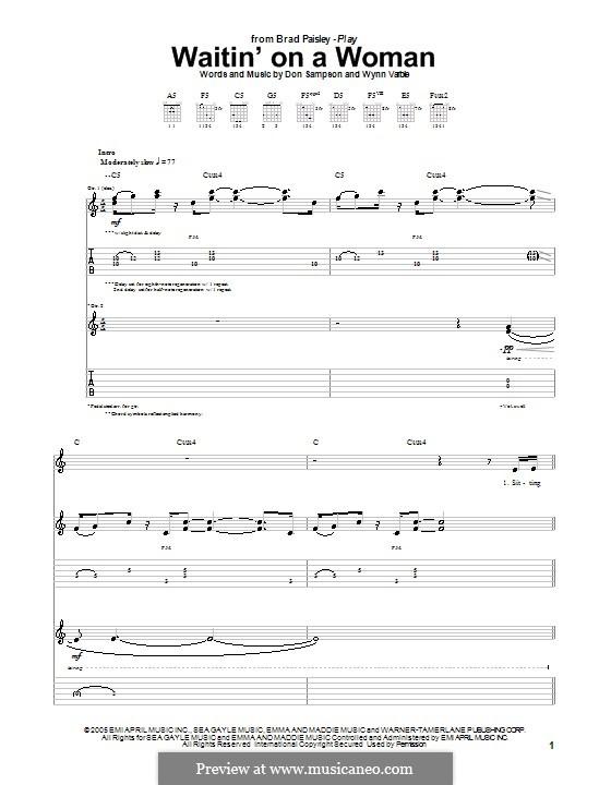 Waitin' on a Woman: Для гитары с табулатурой by Don Sampson, Wynn Varble