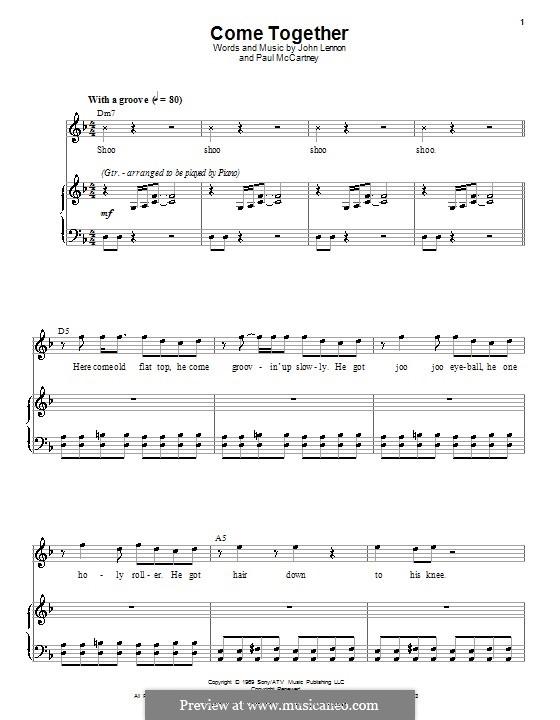 Come Together (The Beatles): Для голоса и фортепиано или гитары (D Minor) by John Lennon, Paul McCartney