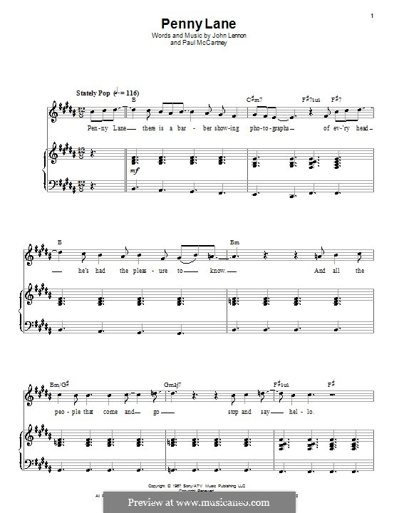 Penny Lane (The Beatles): Для голоса и фортепиано (или гитары) by John Lennon, Paul McCartney