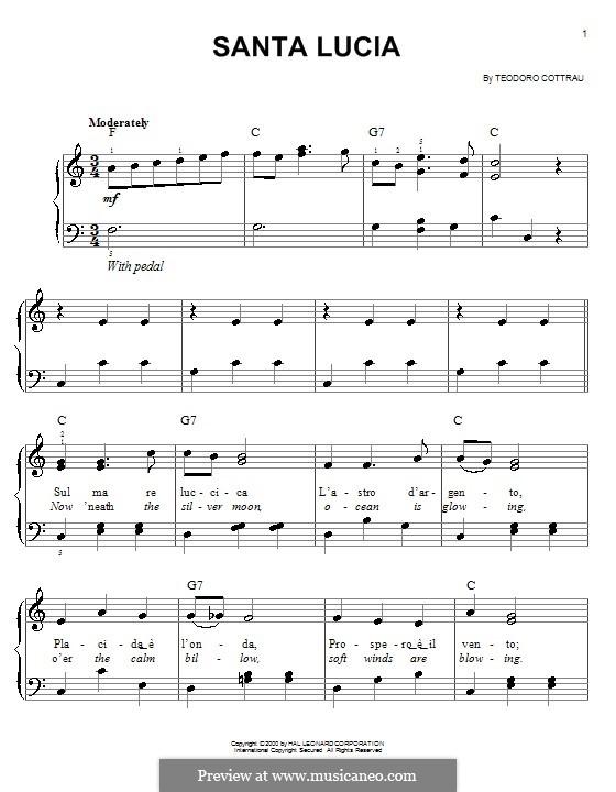 Santa Lucia: Для фортепиано (легкий уровень) by Teodoro Cottrau