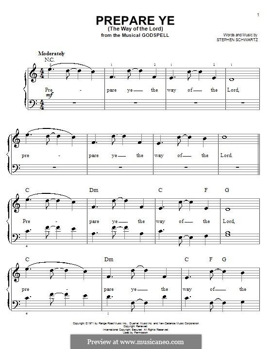 Prepare Ye (The Way of the Lord): Для фортепиано (легкий уровень) by Stephen Schwartz