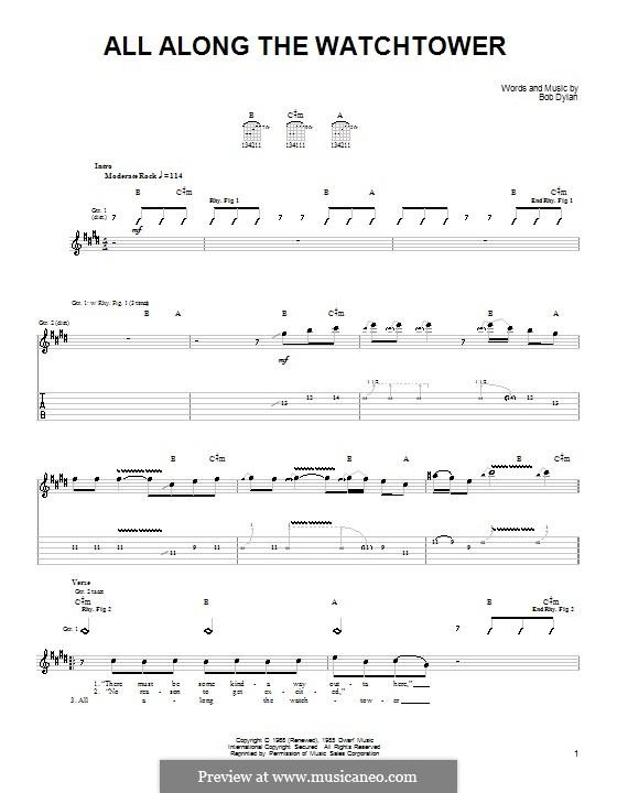 All Along the Watchtower: Для гитары (очень легкая версия) by Bob Dylan