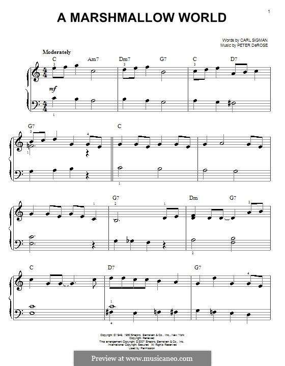 A Marshmallow World: Для фортепиано (легкий уровень) by Peter de Rose