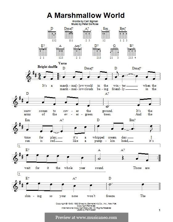 A Marshmallow World: Для гитары (очень легкая версия) by Peter de Rose