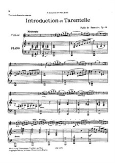 Интродукция и тарантелла, Op.43: Партитура для двух исполнителей, сольная партия by Пабло де Сарасате