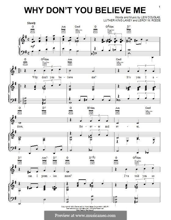 Why Don't You Believe Me (Joni James): Для голоса и фортепиано (или гитары) by Leroy W. Rodde, Lew Douglas, Luther King Laney