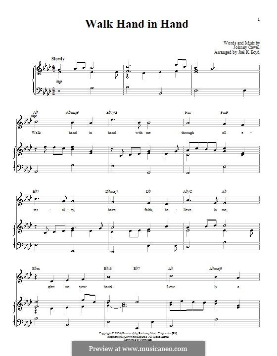 Walk Hand in Hand: Для голоса и фортепиано (или гитары) by Johnny Cowell