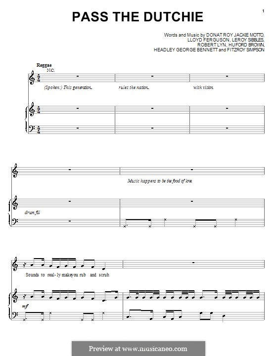 Pass the Dutchie (Musical Youth): Для голоса и фортепиано (или гитары) by Fitzroy Simpson, Jackie Mittoo, Lloyd Ferguson