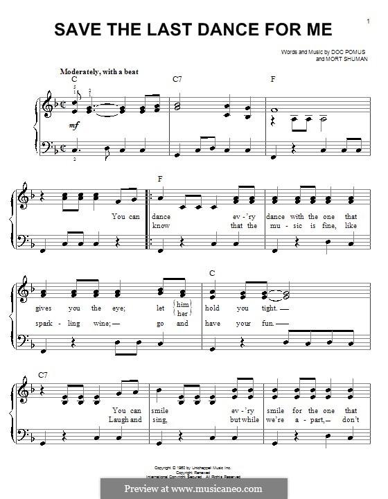 Save the Last Dance for Me (The Drifters): Для начинающего пианиста by Doc Pomus, Mort Shuman