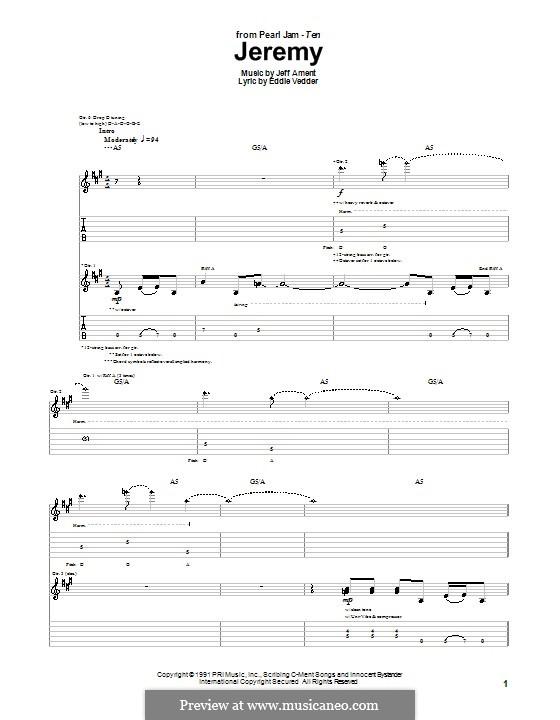 Jeremy (Pearl Jam): Для гитары с табулатурой by Jeff Ament