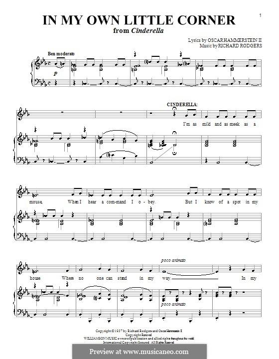 In My Own Little Corner (from Cinderella): Для голоса и фортепиано или гитары (ми бемоль мажор) by Richard Rodgers
