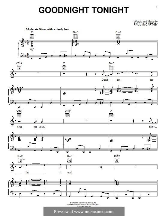 Goodnight Tonight: Для голоса и фортепиано (или гитары) by Paul McCartney