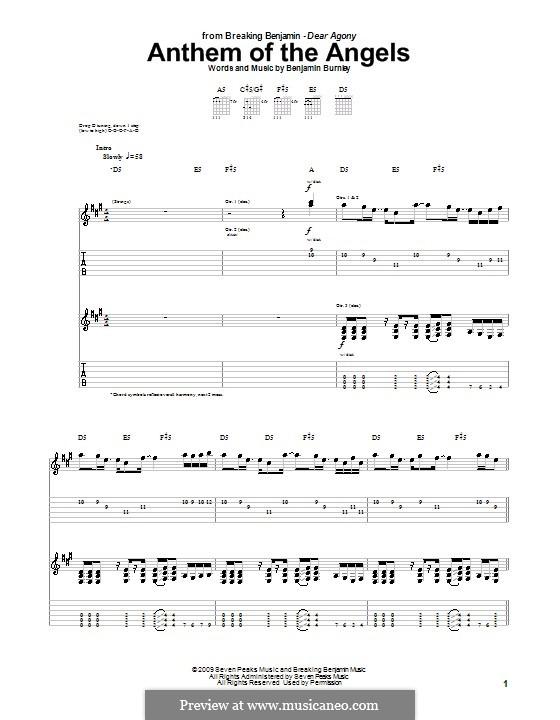 Anthem of the Angels (Breaking Benjamin): Гитарная табулатура by Benjamin Burnley