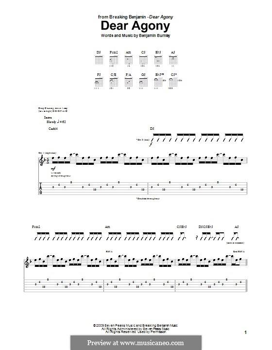 Dear Agony (Breaking Benjamin): Гитарная табулатура by Benjamin Burnley