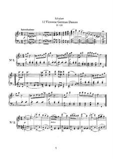 Twelve Viennese German Dances, D.128: For piano by Франц Шуберт