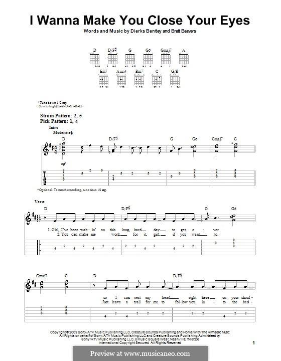 I Wanna Make You Close Your Eyes (Dierks Bentley): Для гитары (очень легкая версия) by Brett Beavers
