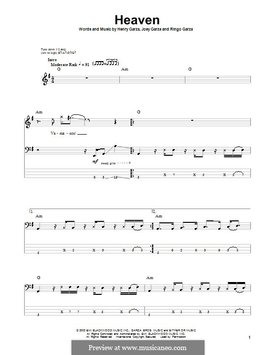 Heaven (Los Lonely Boys): Для бас-гитары с табулатурой by Henry Garza, Joey Garza, Ringo Garza
