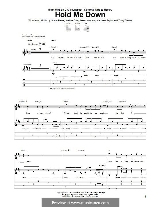 Hold Me Down (Motion City Soundtrack): Гитарная табулатура by Jesse Johnson, Joshua Cain, Justin Pierre, Matthew Taylor, Tony Thaxton
