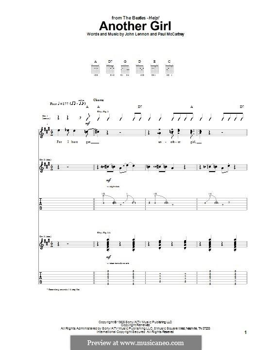 Another Girl (The Beatles): Гитарная табулатура by John Lennon, Paul McCartney