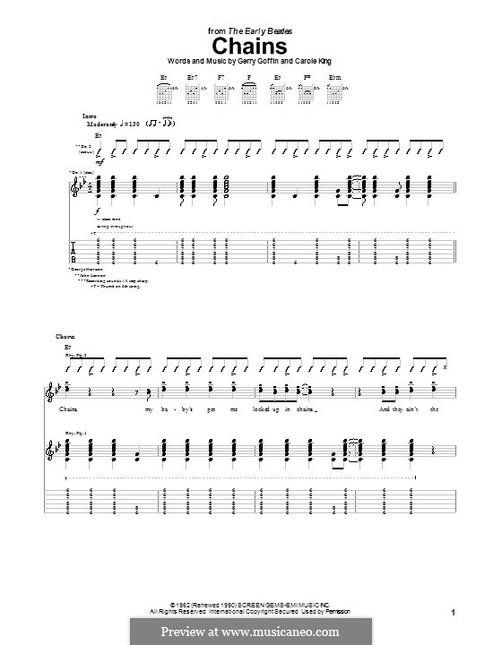 Chains: Guitar tablature (The Beatles) by Carole King, Gerry Goffin