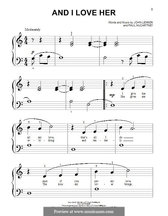 And I Love Her (The Beatles): Для фортепиано (очень легкая версия) by John Lennon, Paul McCartney