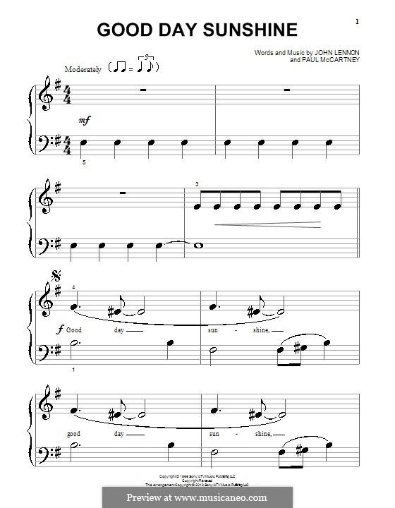 Good Day Sunshine (The Beatles): Для фортепиано (очень легкая версия) by John Lennon, Paul McCartney