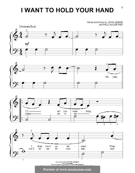 I Want to Hold Your Hand (The Beatles): Для фортепиано (очень легкая версия) by John Lennon, Paul McCartney