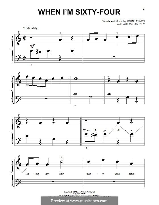 When I'm Sixty-Four (The Beatles): Для фортепиано (очень легкая версия) by John Lennon, Paul McCartney